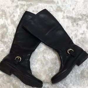 f169f44b04b4 me too. Me too Leather black riding boots Wide calf 9.5